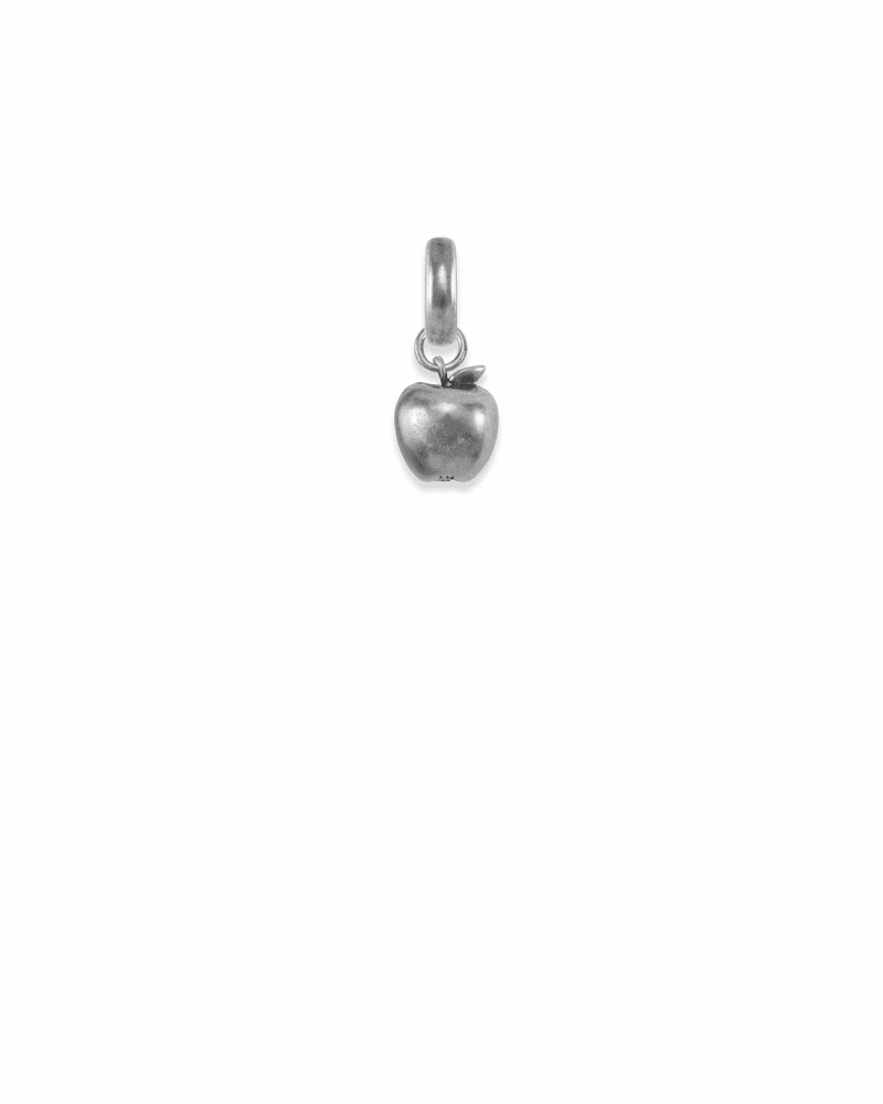 New York Apple Charm in Vintage Silver