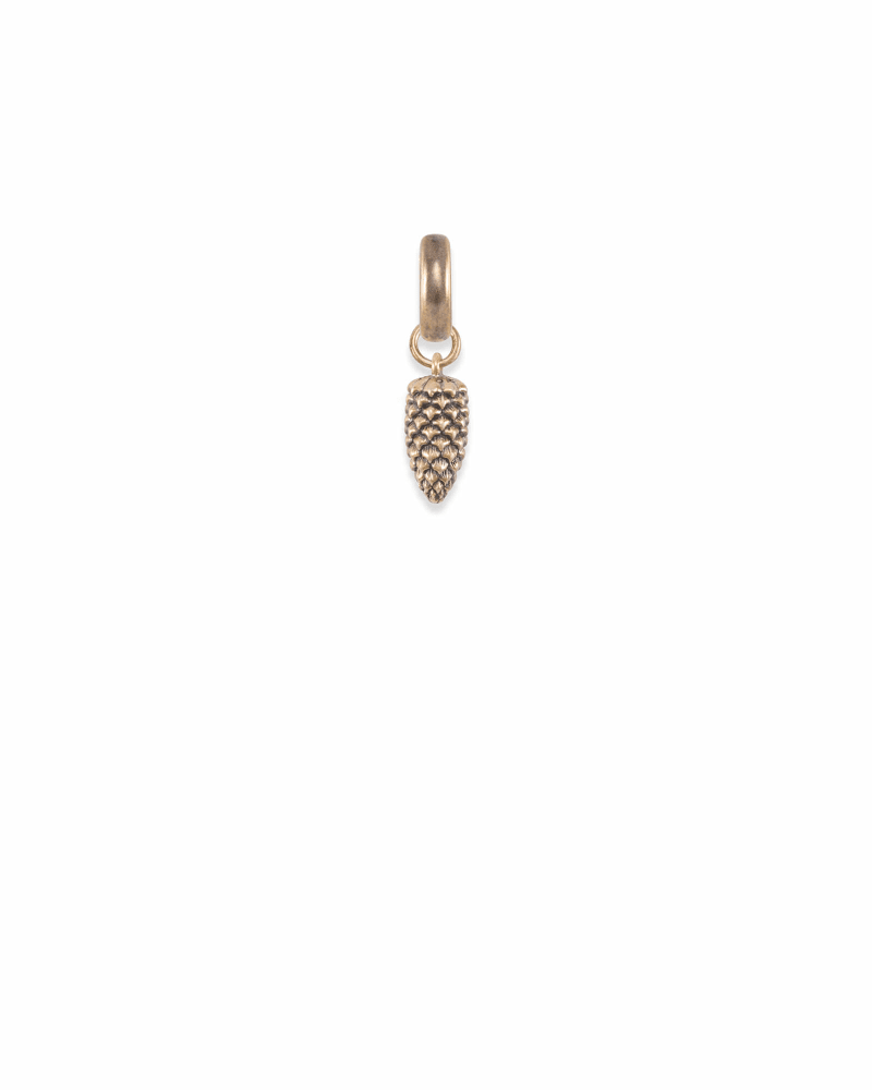 Oregon Pinecone Charm in Vintage Gold