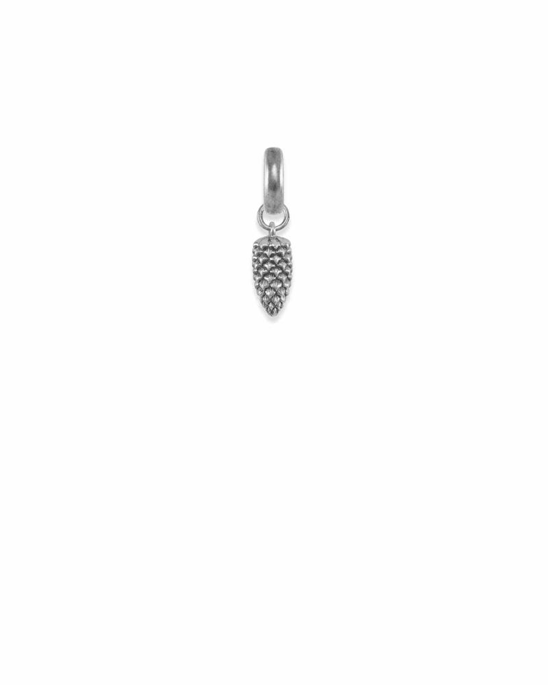 Oregon Pinecone Charm in Vintage Silver