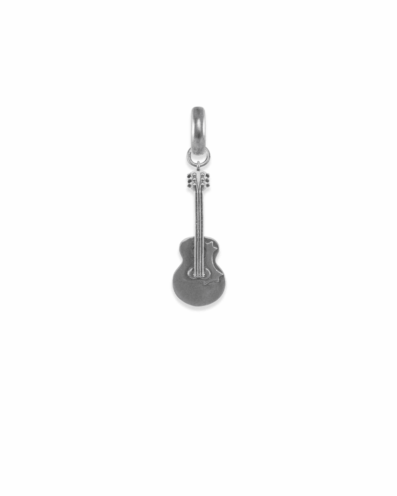 Tennessee Guitar Charm in Vintage Silver