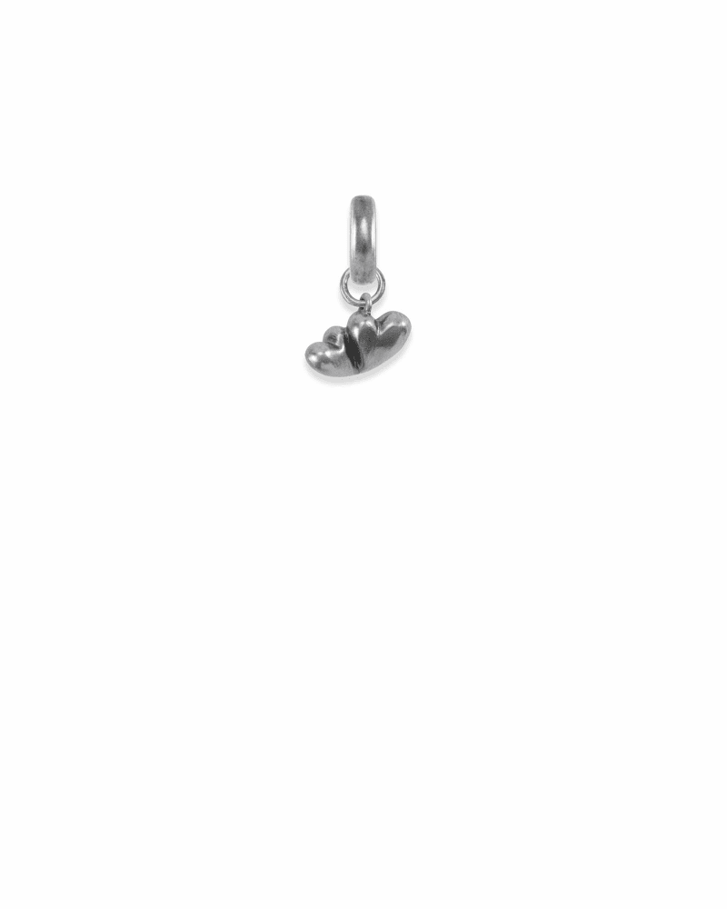 Virginia Two Hearts Charm in Vintage Silver