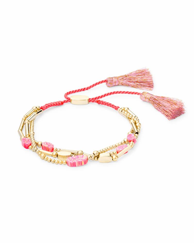 Chantal Gold Beaded Bracelet in Hot Pink Kyocera Opal