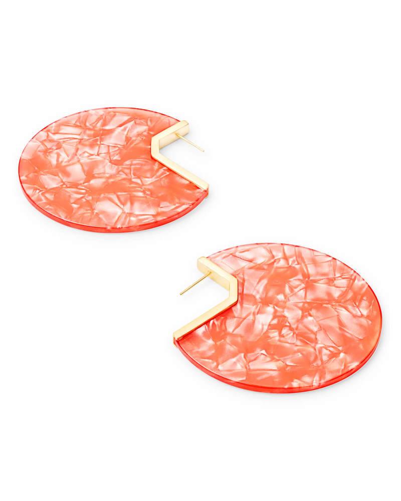 Kai Gold Hoop Earrings in Peach Acetate
