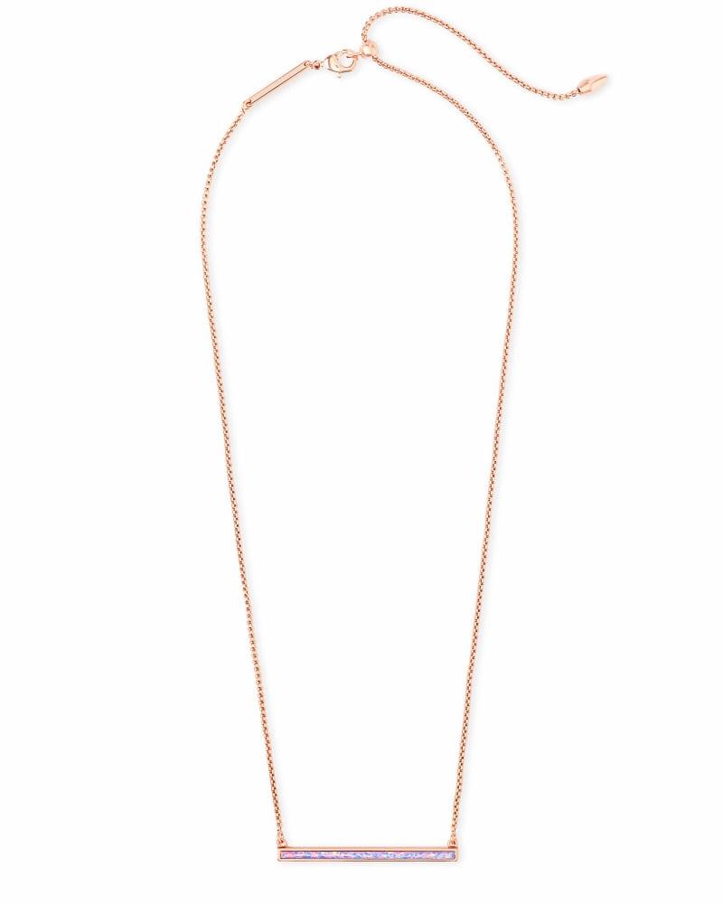Kelsey Rose Gold Pendant Necklace in Lavender Kyocera Opal