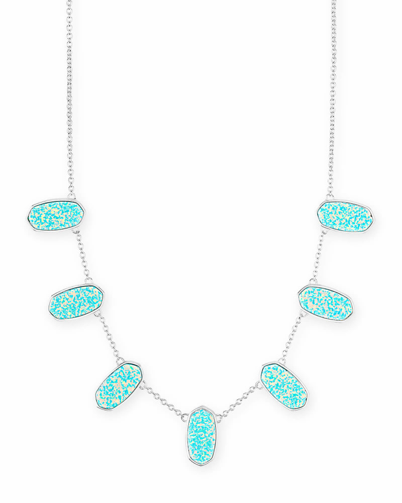 Meadow Bright Silver Collar Necklace in Mint Kyocera Opal