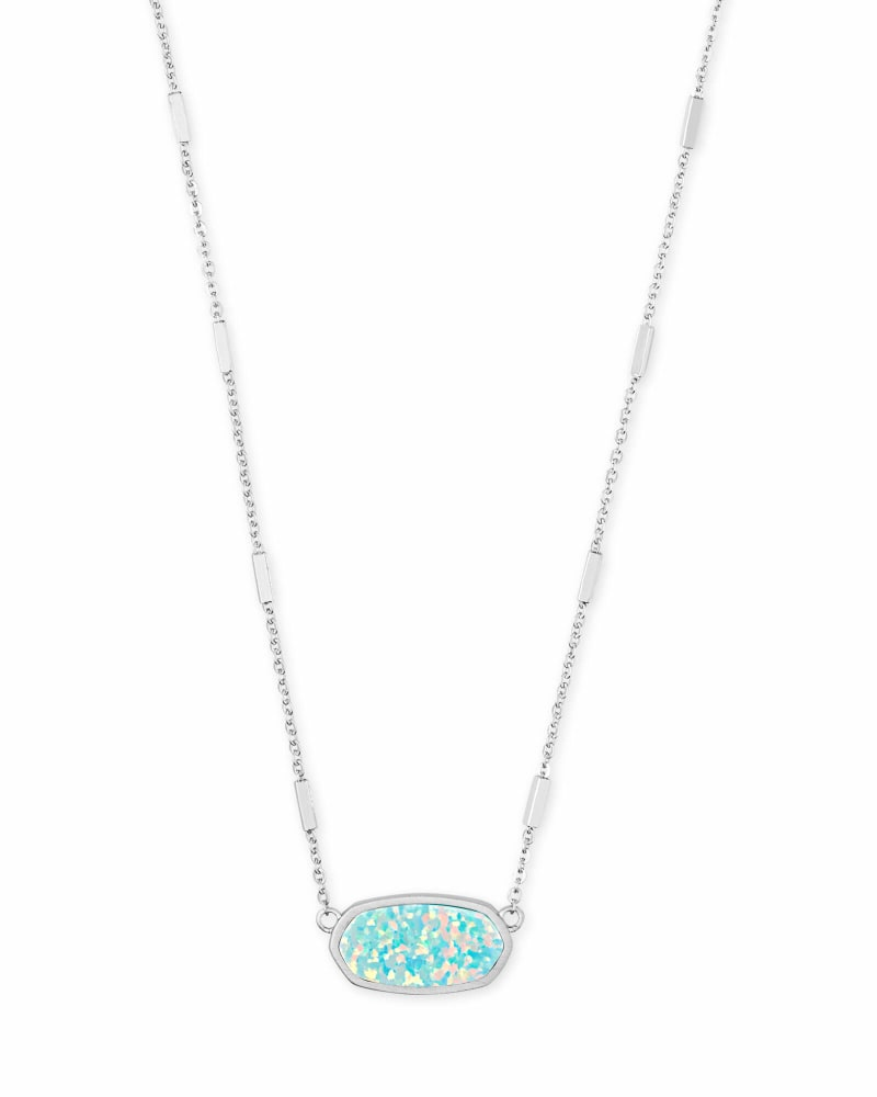 Miley Bright Silver Pendant Necklace in Mint Kyocera Opal