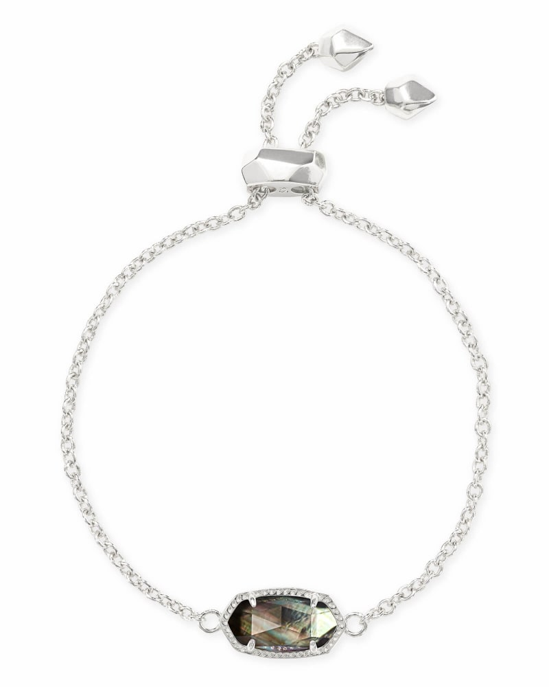 Elaina Bright Silver Adjustable Chain Bracelet in Black Mother-of-Pearl