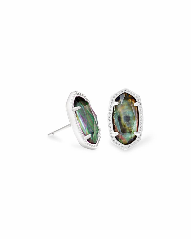 Ellie Bright Silver Stud Earrings in Black Mother-of-Pearl