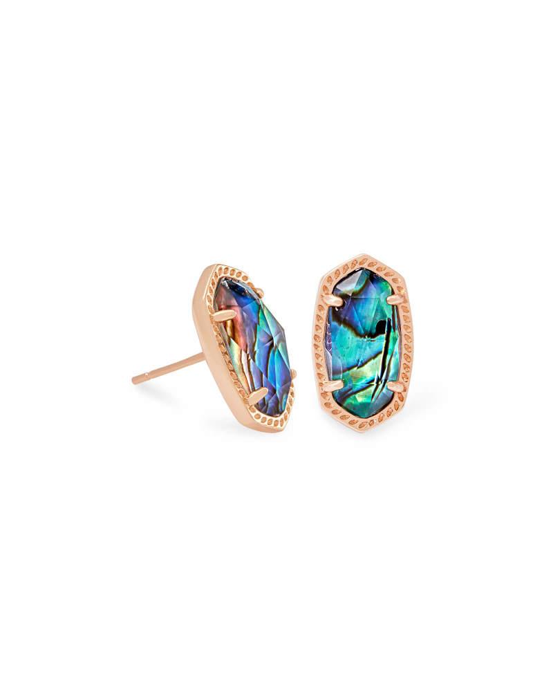 Ellie Rose Gold Stud Earrings in Abalone Shell