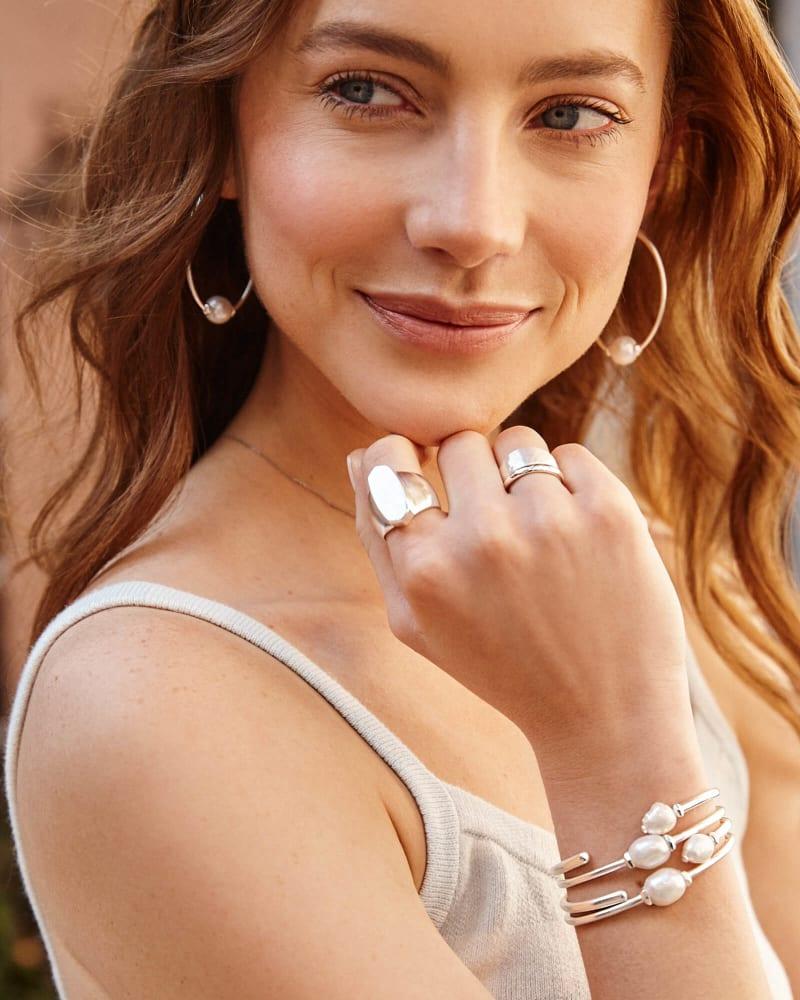 Amiya Cuff Bracelet in Pearl