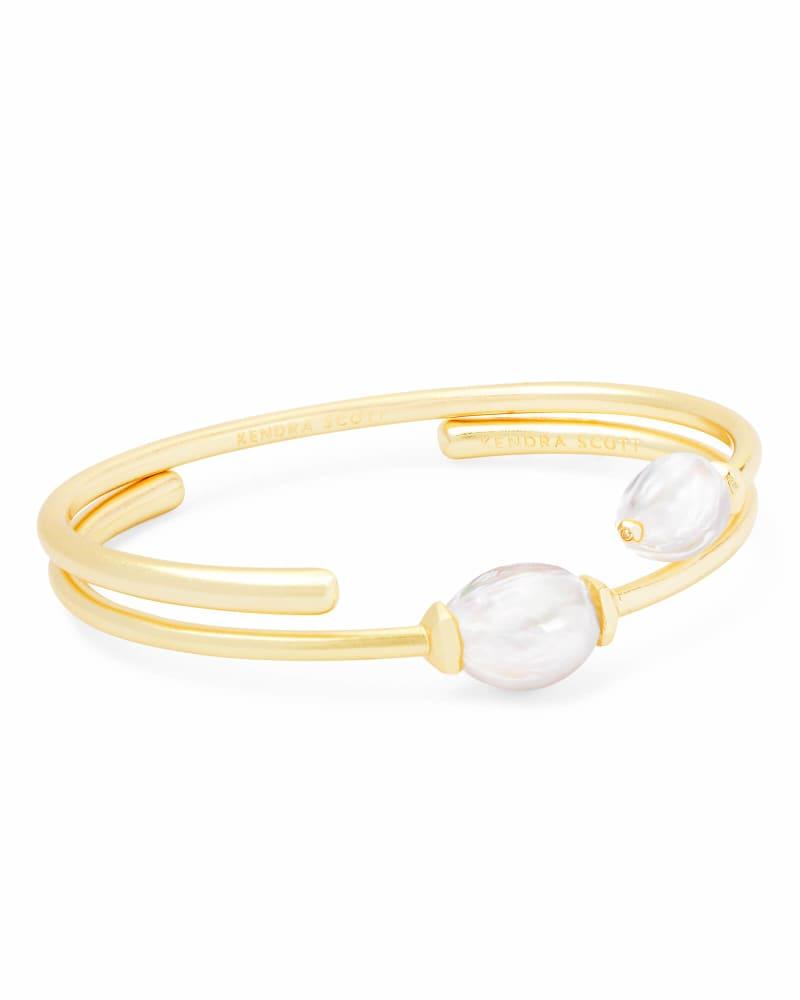 Amiya Gold Cuff Bracelet in Pearl