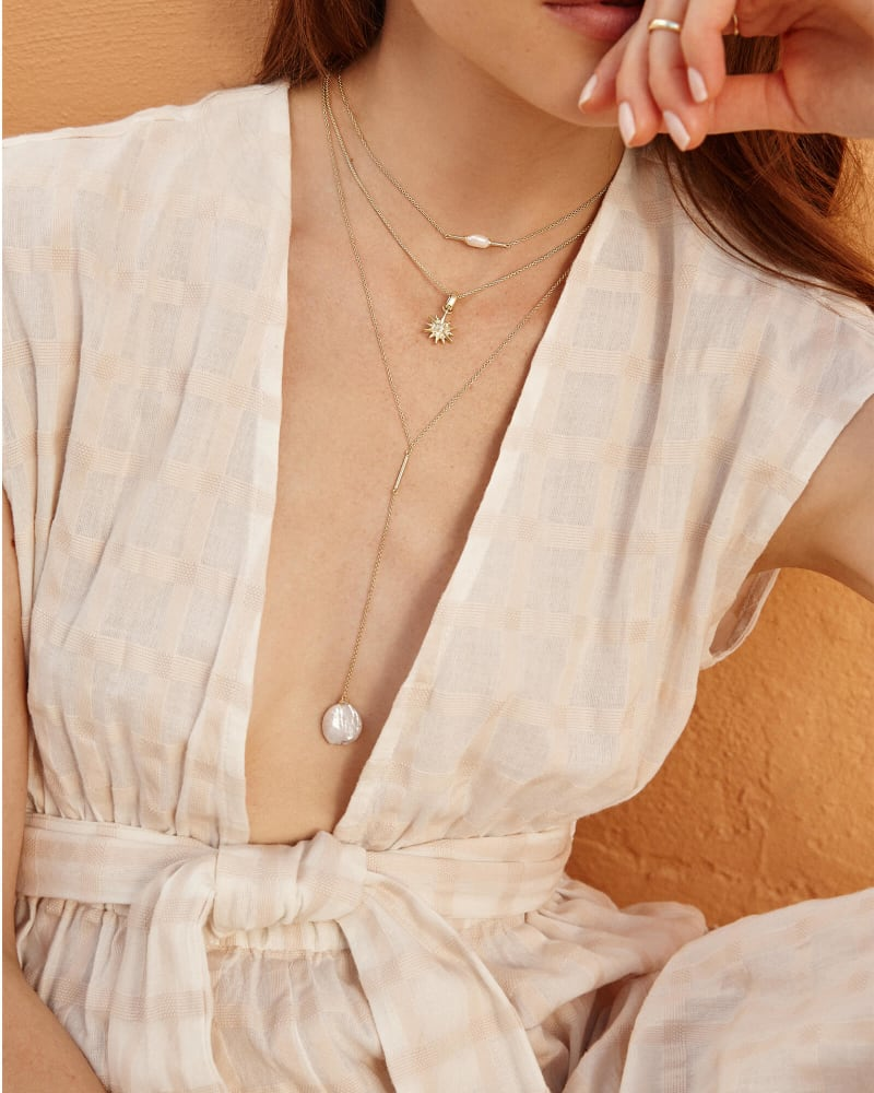 Andi Y Necklace in Pearl