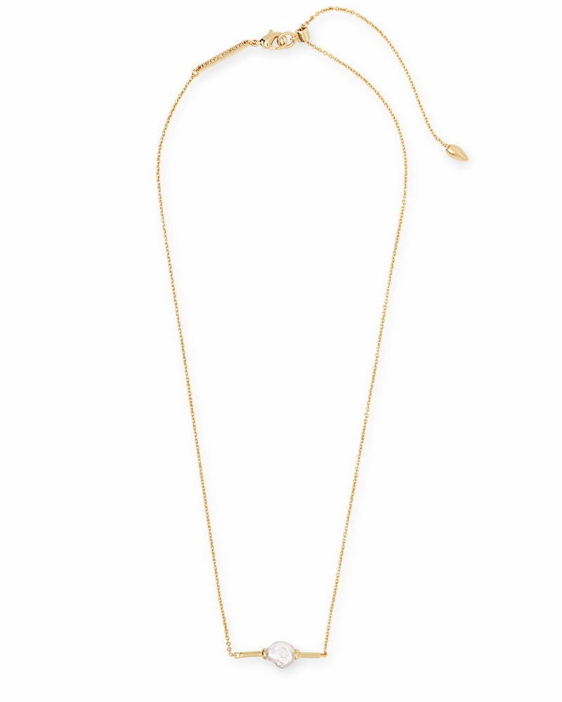 Emberly Gold Pendant Necklace in Pearl