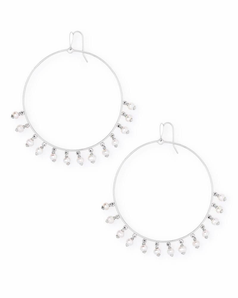 Hilty Bright Silver Hoop Earrings in Pearl