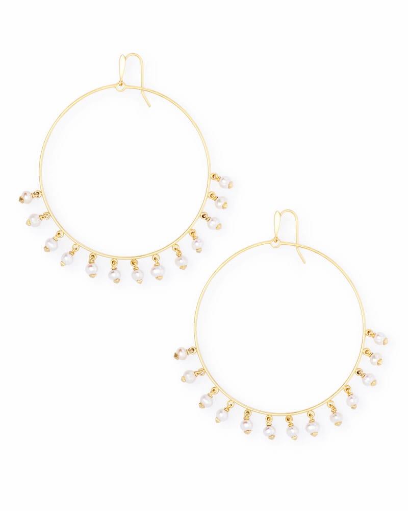 Hilty Gold Hoop Earrings in Pearl