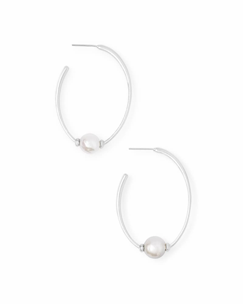 Regina Bright Silver Hoop Earrings in Pearl