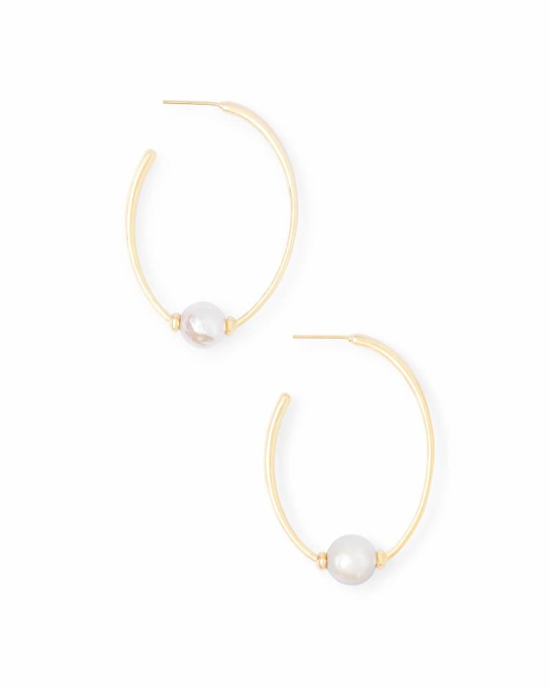 Regina Hoop Earrings in Pearl