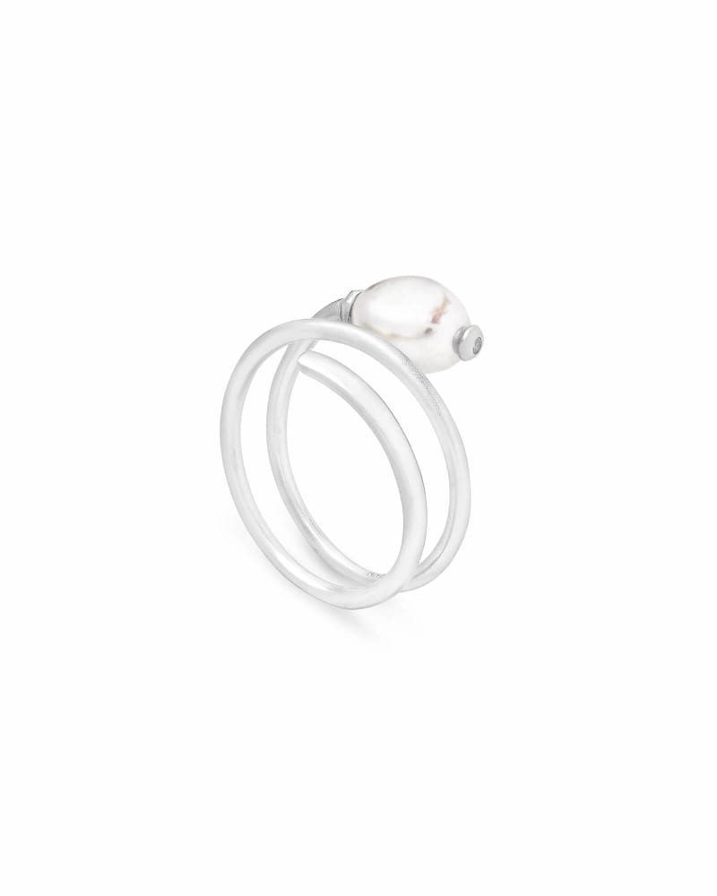 Jayla Bright Silver Cocktail Ring in Pearl