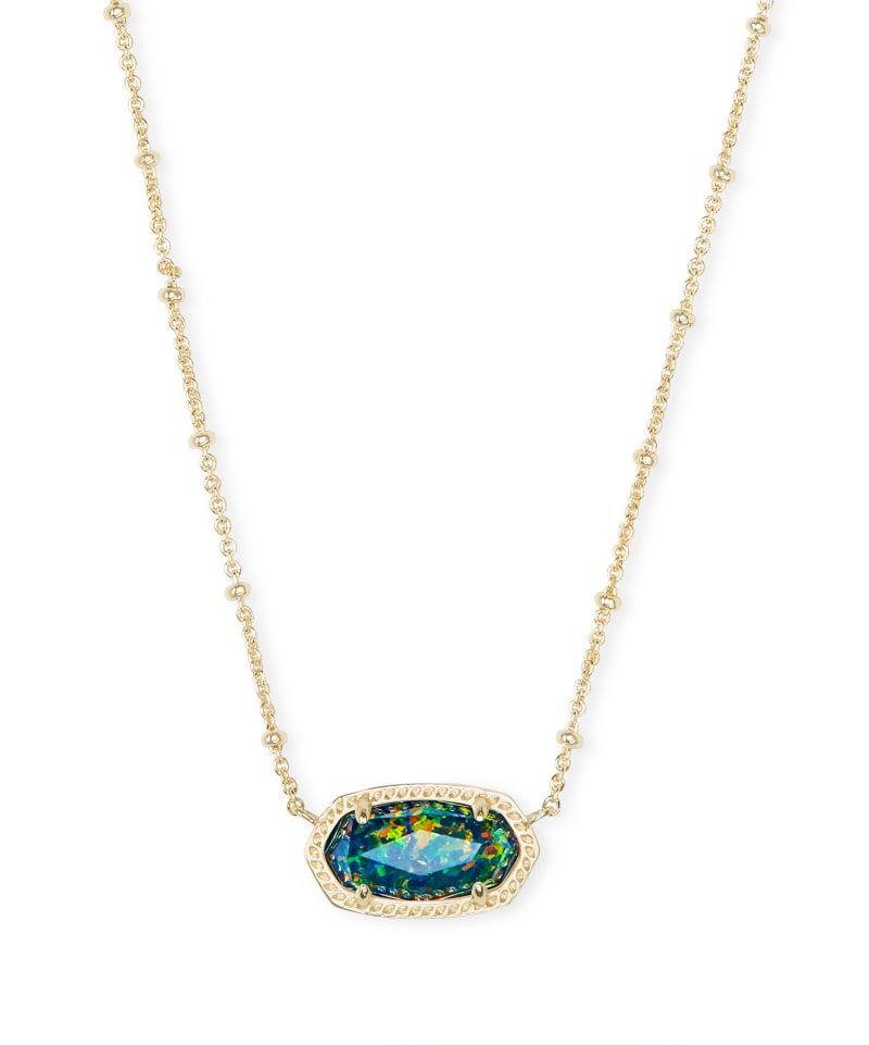 Elisa Gold Satellite Pendant Necklace in Midnight Kyocera Opal Illusion