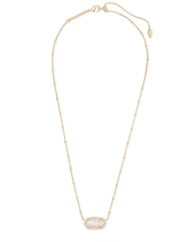 Elisa Gold Satellite Pendant Necklace in White Kyocera Opal Illusion