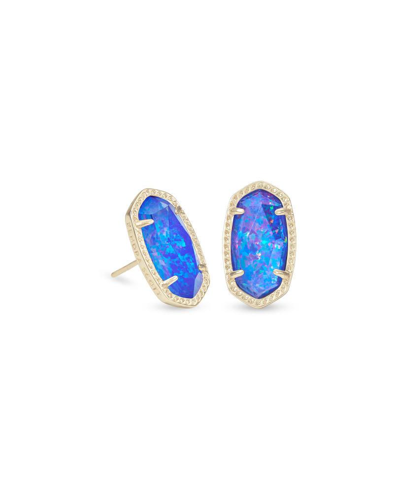 Ellie Gold Stud Earrings in Indigo Kyocera Opal Illusion