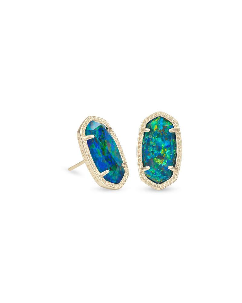 Ellie Gold Stud Earrings in Midnight Kyocera Opal Illusion