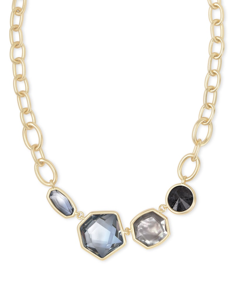 Natalia Gold Statement Necklace in Steel Gray Mix