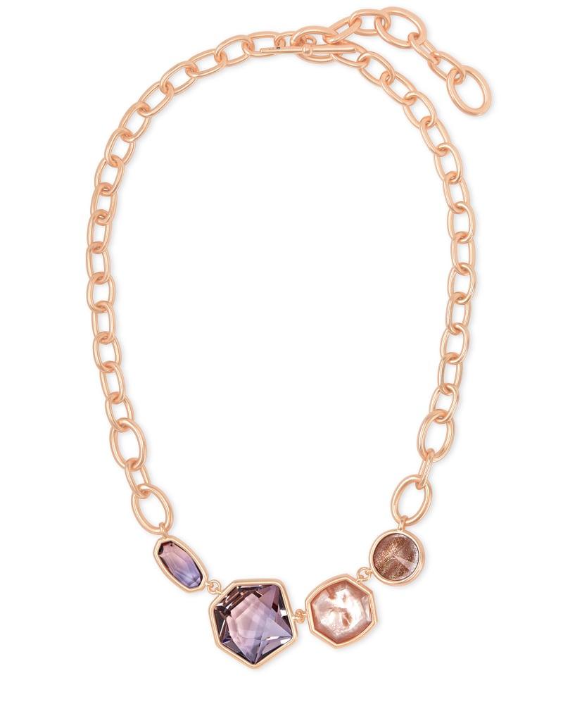 Natalia Rose Gold Statement Necklace in Peach Mix