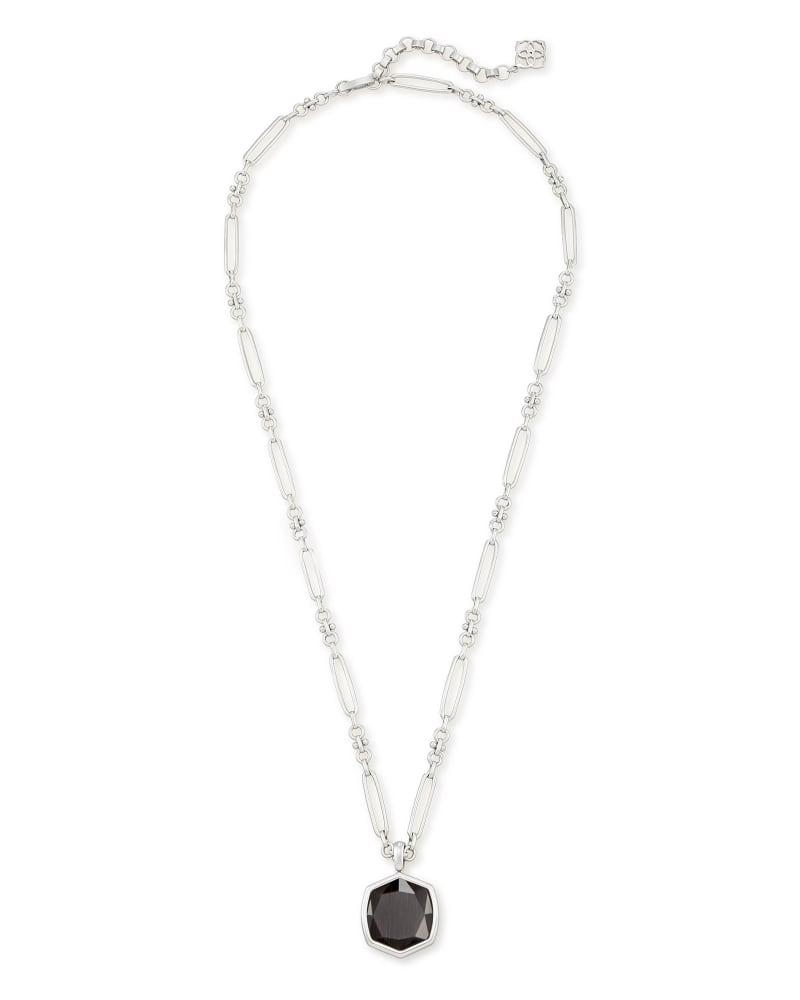 Davis Silver Pendant Necklace in Black Cat's Eye
