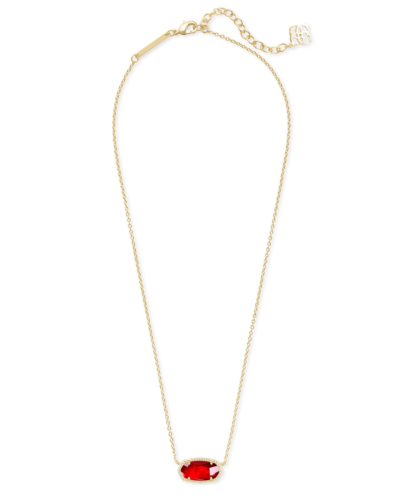 Elisa Gold Pendant Necklace in Cherry Red Illusion
