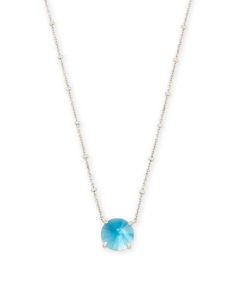 Jolie Silver Pendant Necklace in Peacock Blue Illusion
