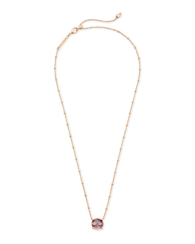 Jolie Rose Gold Pendant Necklace in Peach Ombre