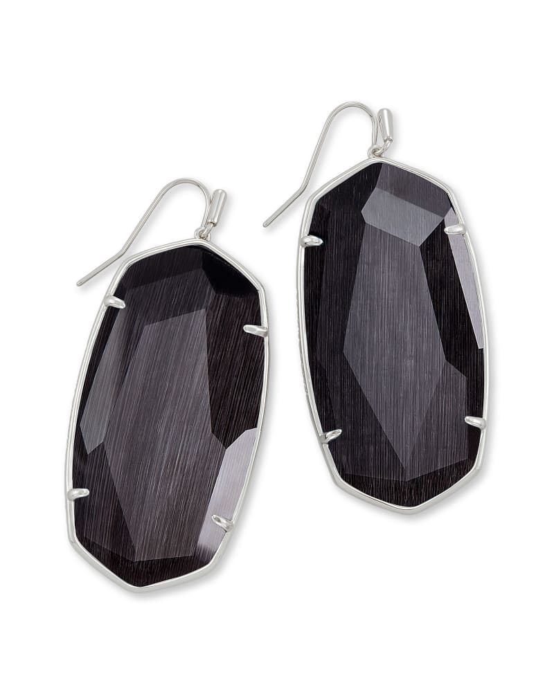 Faceted Danielle Silver Statement Earrings in Black Cat's Eye
