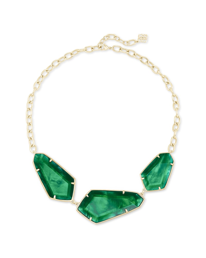 Violet Gold Statement Necklace in Jade Green Illusion