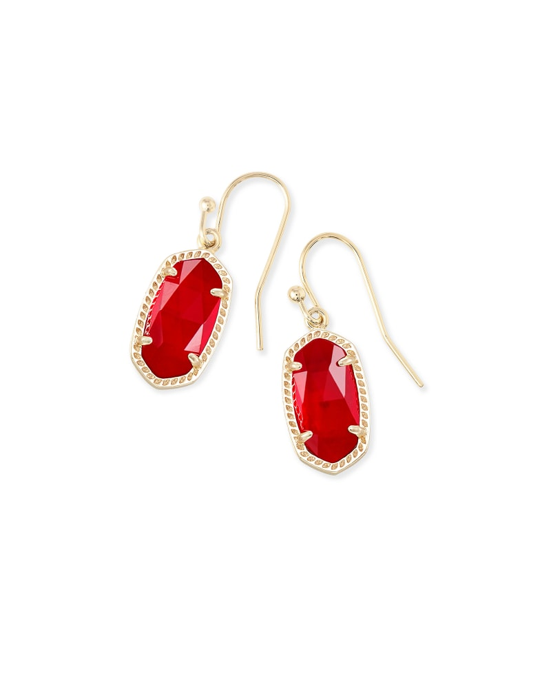 Lee Gold Drop Earrings in Cherry Red Illusion