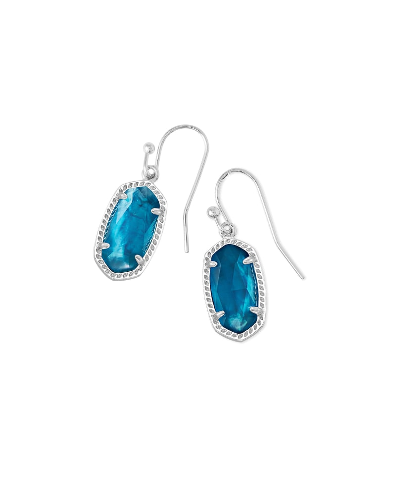 Lee Silver Drop Earrings in Peacock Illusion
