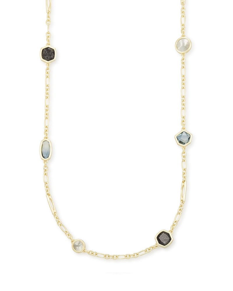 Natalia Gold Long Necklace in Steel Gray Mix