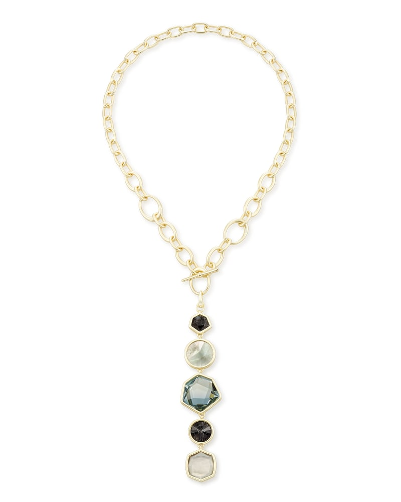 Natalia Gold Y Necklace in Steel Gray Mix