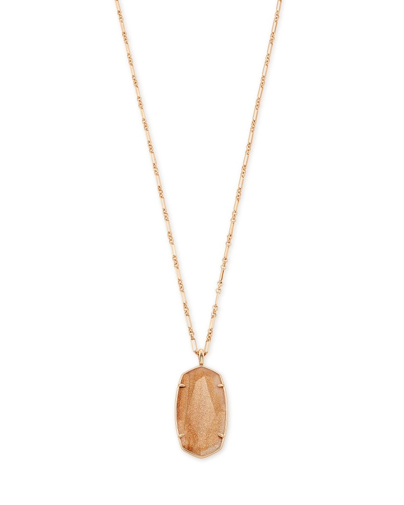Faceted Reid Rose Gold Long Pendant Necklace in Gold Dusted Pink Illusion