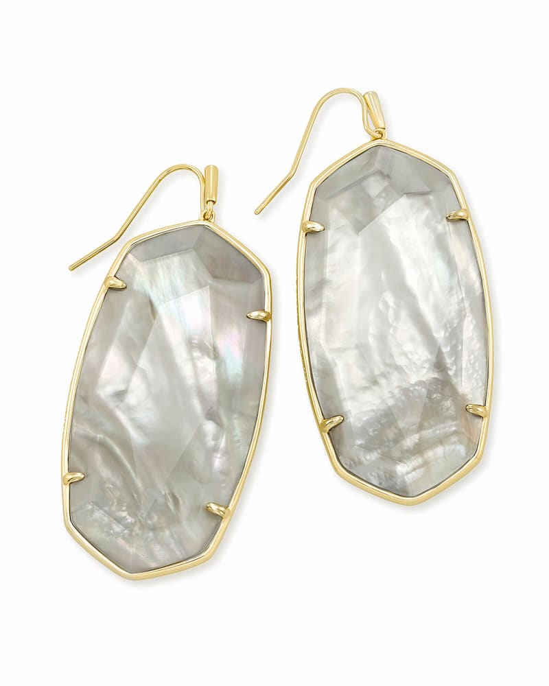 Faceted Danielle Gold Statement Earrings in Gray Illusion