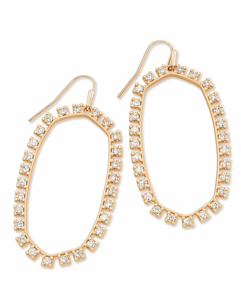 Danielle Open Frame Crystal Statement Earrings in Rose Gold
