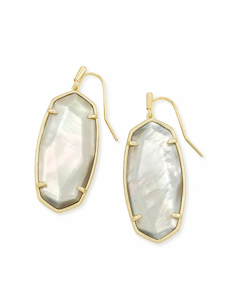 Faceted Elle Gold Drop Earrings in Gray Illusion