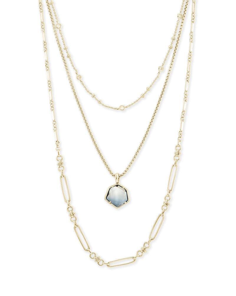 Vanessa Gold Multi Strand Necklace in Steel Gray Ombre