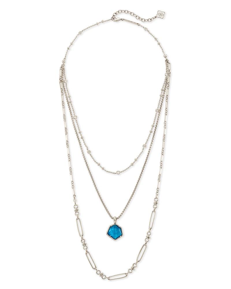 Vanessa Silver Multi Strand Necklace in Peacock Blue Illusion