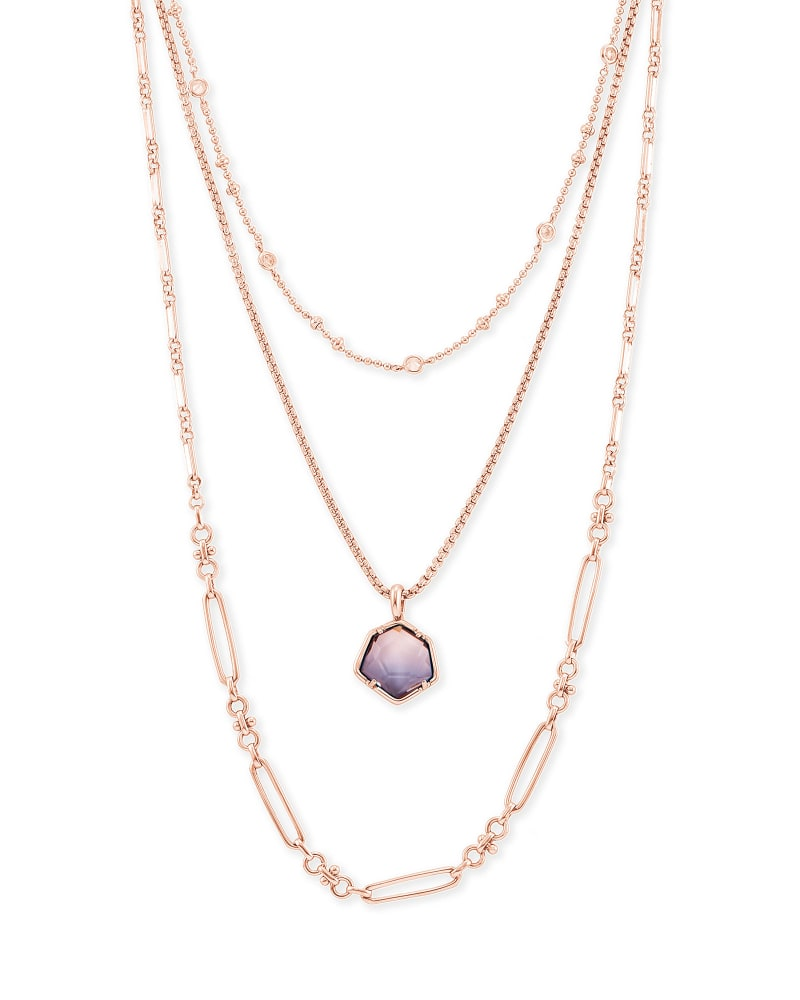 Vanessa Rose Gold Multi Strand Necklace in Peach Ombre