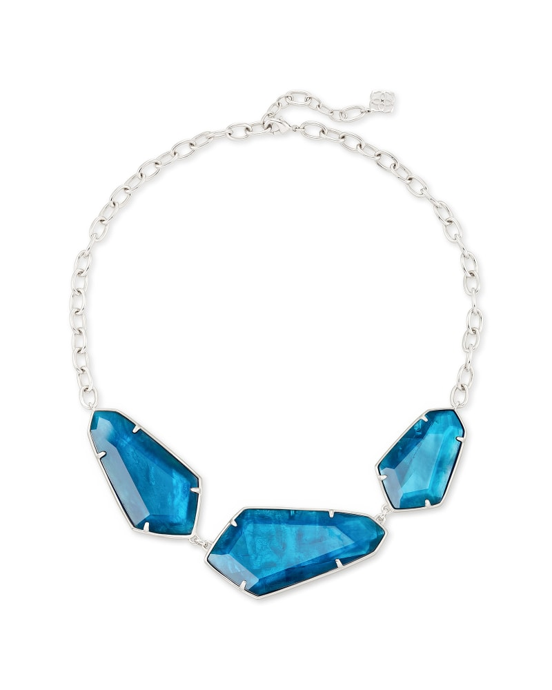 Violet Silver Statement Necklace in Peacock Blue Illusion