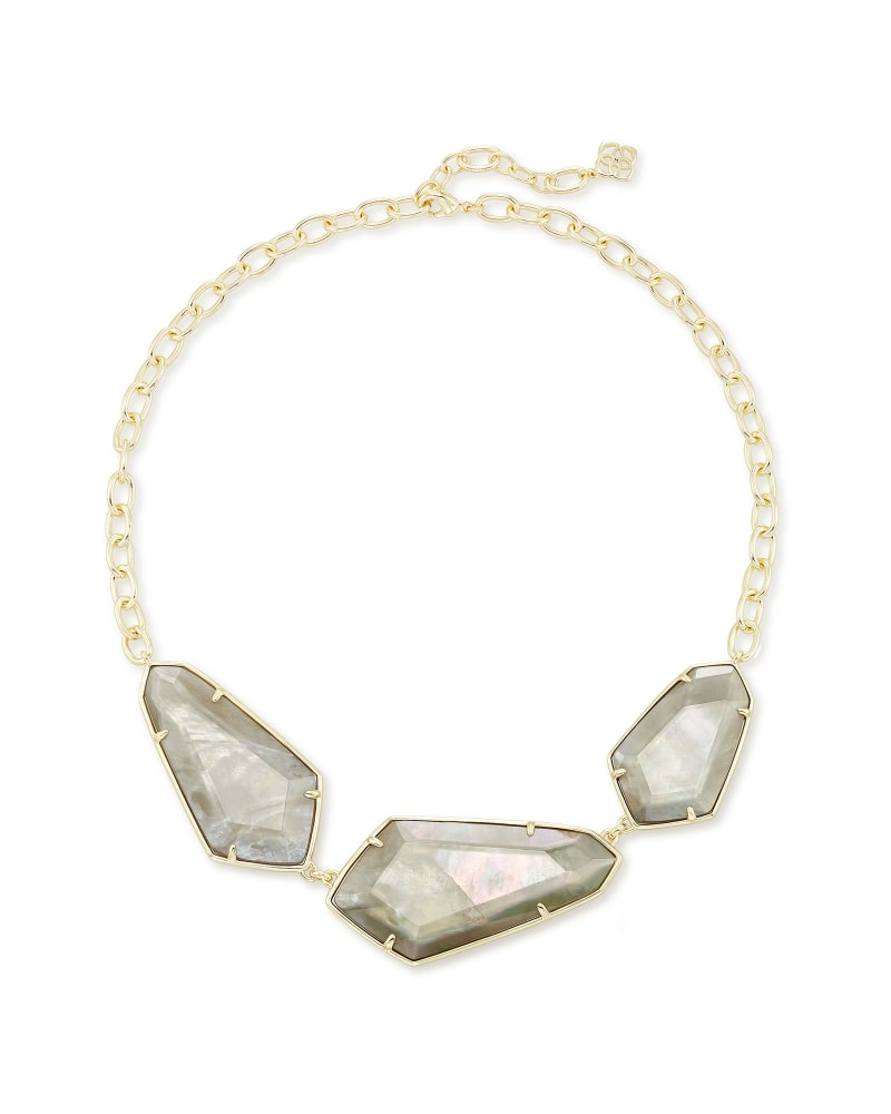 Violet Gold Statement Necklace in Gray Illusion
