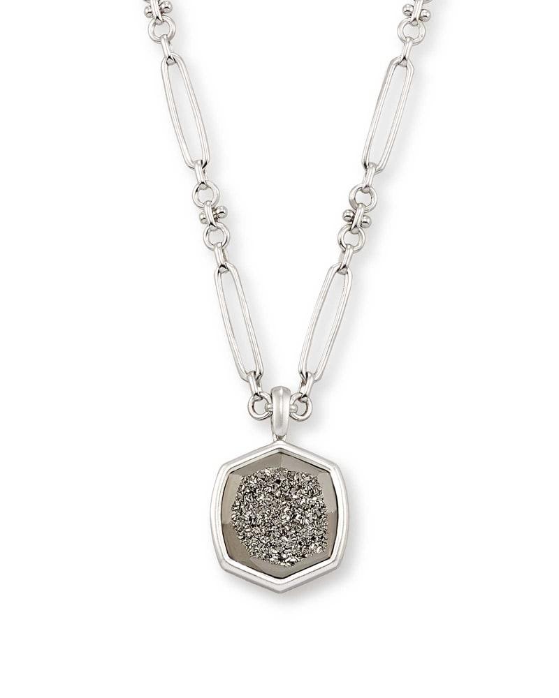 Davis Silver Pendant Necklace in Platinum Drusy