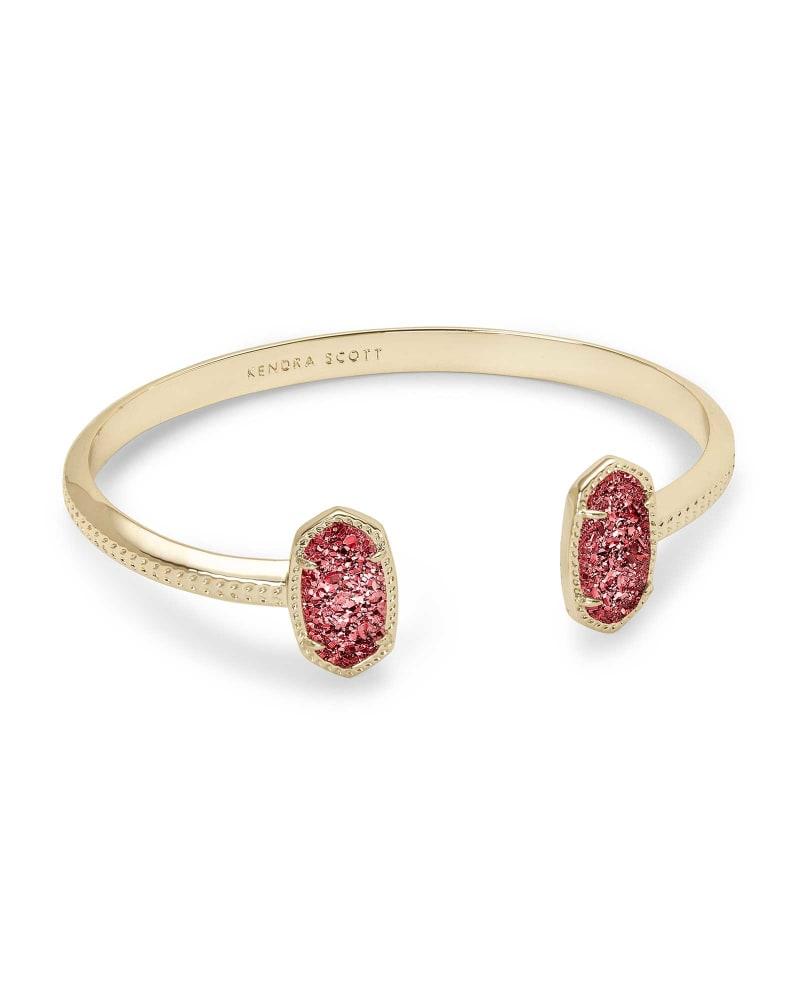 Elton Gold Cuff Bracelet in Raspberry Drusy