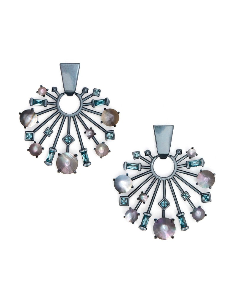 Fabia Small Navy Gunmetal Statement Earrings in Indigo Illusion